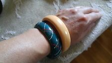 VTG LOT 2 Bangle Bracelet Plastic Lucite orange laminate Teal hand painted resin