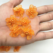 New 10pcs Organza Ribbon Flower Bows Pearl For Sewing Appliques Wedding Orange#2