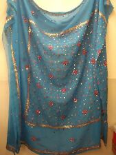 Vintage Teal and Pink Dupatta Indian Scarf Embroidered Sarong Veil Stole Beach