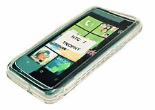 Silikon TPU Handy Cover Case Hülle in Foggy + Displayschutzfolie HTC 7 Trophy