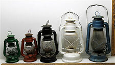5 Vintage Dietz Kerosene Oil Railroad Barn Metal Lanterns Lamps w/ Clear Globes