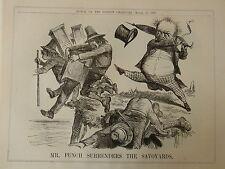 """7x10 """"Punch Cartoon 1860 Señor Punch renuncie a la los"""