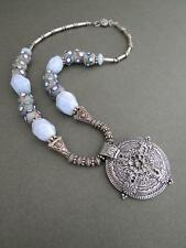 Vintage Silver Spacers Agate African Sand Cast Beads Necklace