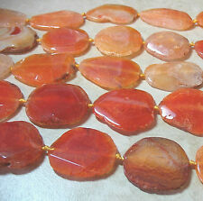 Orange Agate 40-50mm Large Flat Oval Nugget 3 Beads 1.5m Hole Focal Statement