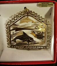 SHEDD AQUARIUM: CHICAGO, ILLINOIS Christmas Ornament 24K Gold Flashed Brass