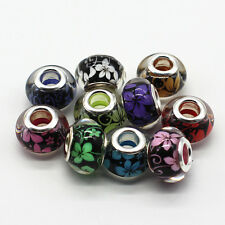 50pcs Mixed Flower MURANO BEAD LAMPWORK Fit European Charm Bracelet