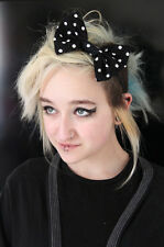 BLACK SPOTTY BIG BOW HAIR FOREHEAD HEAD BAND HIPSTER INDIE FESTIVAL SUMMER