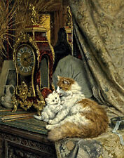 Knip Ronner Henriette A Mother Cat And Her Kitten With A Bracket Clock #4084