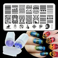 Born Pretty Aztec Nail Art Stamping Plate Stamp Stamper Scraper Nail Kit DIY
