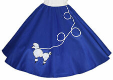 "Blue FELT Poodle Skirt _ Adult Size LARGE _ Waist 35""- 42"" _ Length 25"""