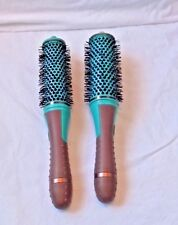 "2 HAIR STYLING ROLLER BRUSH SMALL 2"" ROUND BODY UP DETACHABLE HANDLES NEW EASY"