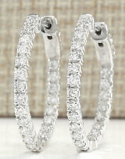 2.00CTW NATURAL DIAMOND HOOP EARRINGS 14K SOLID WHITE GOLD