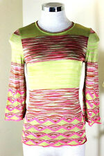 MISSONI Knitted Green Pink Long Sleeve Top Blouse 42 4 5 6