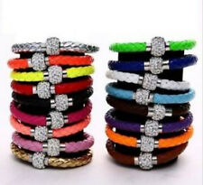3# Leather Wrap Wristband Cuff Punk Magnetic Rhinestone Buckle Bracelet Bangle