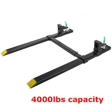 4000lbs Clamp on Heavy Duty Pallet Forks W/adjustable Stabilizer Bar for loaders