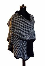 BLACK WHITE HOUNDSTOOTH REVERSIBLE CAPE PONCHO WRAP WOOL BLEND ONE SIZE OSFA