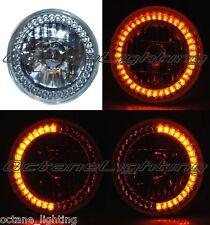 """7"""" Amber LED Angel Eye Ring Motorcycle Halo Headlight Blinker Turn Signal Light"""