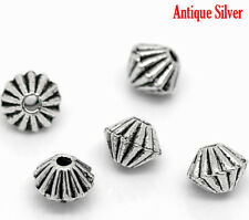 50 x Silver Tone Bicone Spacer Beads Craft Jewellery Findings - 4mm - L02878