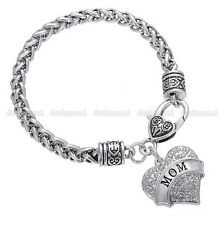 Love Heart Mom Charm Pendant Bangle Bracelet Silver Crystal Mother's Day Gifts