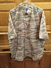 Men's Hook And Tackle Short Sleeve  Fishing Button Up 2XL 2X XXL Shirt