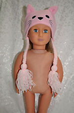 """American Girl Doll Our Generation Journey Girl 18"""" Dolls Clothes Pink Cat Hat"""