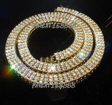 14k Yellow Gold 3 ROW Crystal Simulated Clear Diamond Iced Out Chain Necklace