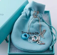 Tiffany & Co Elsa Peretti Silver Gemstone Eternal Circle Charms pendant Necklace