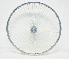 """BICYCLE 26"""" FRONT WHEEL w/68 SPOKES SILVER STEEL BEACH CRUISER LOWRIDER NEW!"""