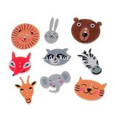 100 Wood Sewing Buttons Scrapbooking 2 Holes Mixed Terrestrial Animals 15-30mm