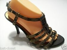 Knockout King Kym Anne Klein Black Gold Beaded Sandals Shoes Size 9 By4Ship FREE
