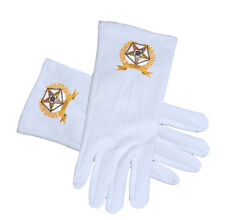 OES Star Face Cotton White Gloves Golden Laurel. Order of the Eastern Star