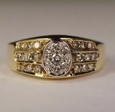 Ladies 18K Solid Yellow Gold .40 CT Round Diamond Cluster Oval Top Ring Sz 6.25