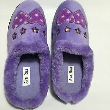Ladies Purple Slippers BNIB Uk Size 8 With Fur Embroidered Motif