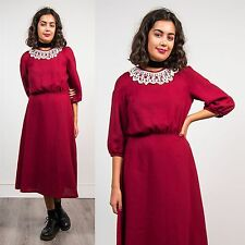 WOMENS VINTAGE 80'S MAROON BURGANDY TEA DAY DRESS CROCHET COLLAR VICTORIANA 10