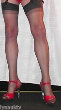 2 Pairs Nearly Black Sheer 15 Denier Stockings One Size quality two tone top