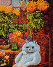 Louis Wain Psychedelic Flower Cat Painting Albert Hoffman Real Canvas Art Print