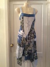 Joe Browns Blue & White Mix & Match Lace Up Back Summer Dress. SIZE 12. NEW