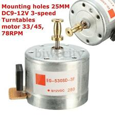 25MM DC9-12V Turntables Motor Mounting Holes 33/45,78RPM For 3-speed Turntable