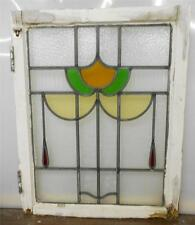 """MID SIZED OLD ENGLISH LEADED STAINED GLASS WINDOW Floral design 20.5"""" x 26"""""""