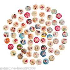 100PCs Mixed Christmas Pattern Sewing Wooden Buttons DIY Scrapbook Ornaments