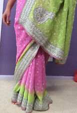 New Bollywood Designer Saree Sari Indian Pakistani Bridal Pink Evening Dress