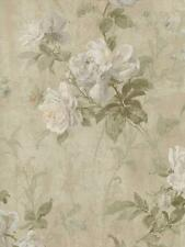 Wallpaper Designer Large Floral Cream Gray Brown Green Aqua on Taupe Faux