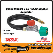 "Bayou Classic 0-10 PSI HI Pressure LPG Adjustable Regulator With 30"" Hose 5HPR"