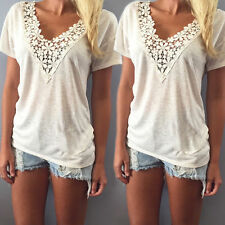 Fashion Women Summer Vest Top Sleeveless Blouse Casual Tank Tops T-Shirt Lace XL