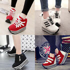 New Womens/Students Lace Up High Platform Wedge Sneakers heels Casual shoes -A2