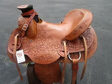 15 16 WADE ROPING RANCH RODEO WESTERN PLEASURE TRAIL TOOLED LEATHER HORSE SADDLE