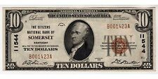 $10 1929 The Citizens National Bank Of Somerset, Ky Ch# 11544 Extremely Fine