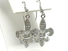 F2 Fleur de Lis Royal EARRINGS Saints French Lily White Gold Plating Crystal NEW