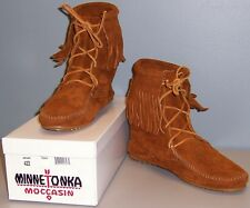 MINNETONKA TRAMPER SUEDE ANKLE BOOT - BROWN - WOMENS 8