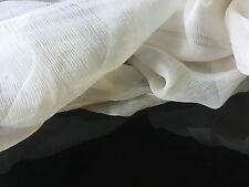 "NEW French 100% Silk Cream Crinkle Chiffon Fabric 55"" 139cm Dress Scarf Coco Sew"